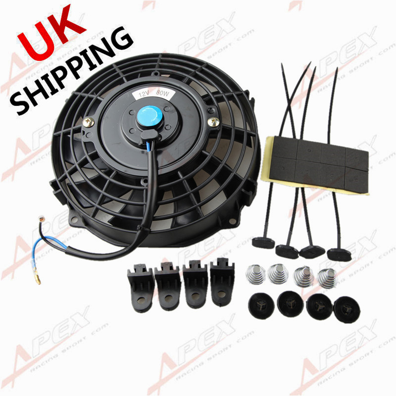 Mounting Kit ACP 12 12v Push Type Radiator Cooling Fan With Curved Blades