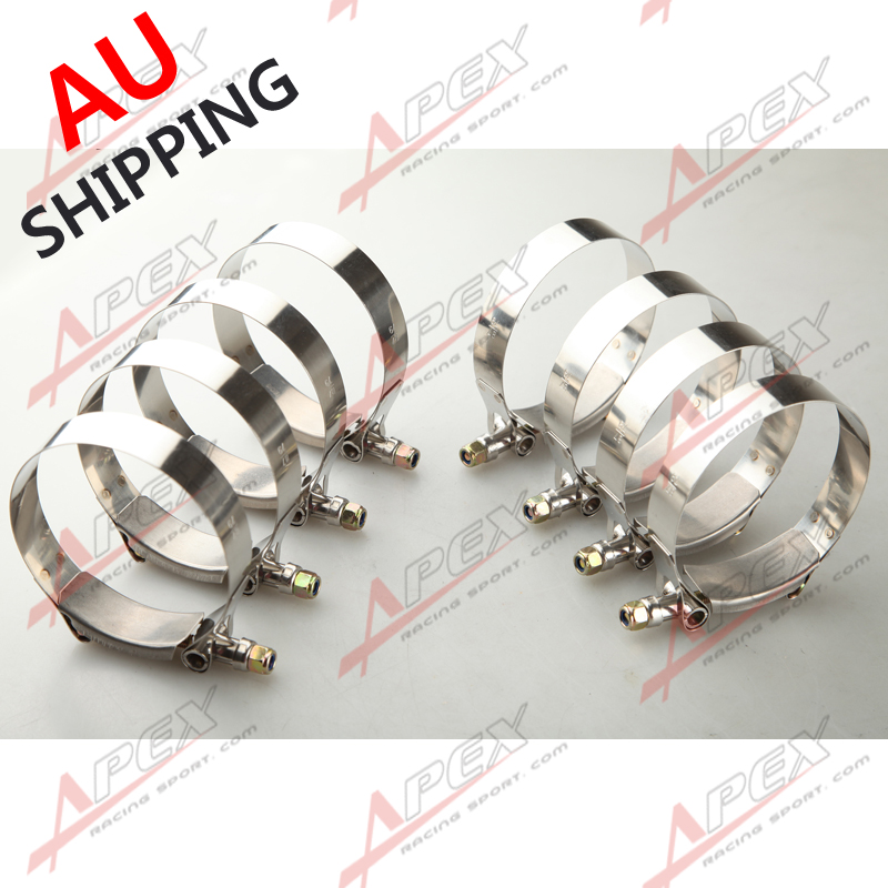 """8PCS 4.0/"""" inch 105//117mm Turbo Pipe Hose Coupler T-bolt Clamps Stainless Steel"""