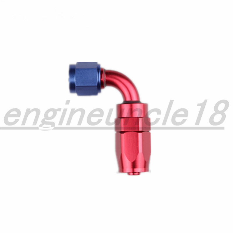 AN10 AN-10 90 Degree Swivel Oil//Fuel//Gas Hose Line End Fitting Adapter Blue/&Red