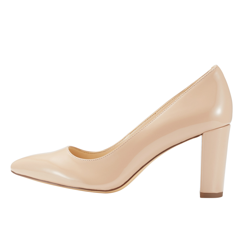 Womens High Heels Nude Chunky Thick Shoes Pointed Closed -7778