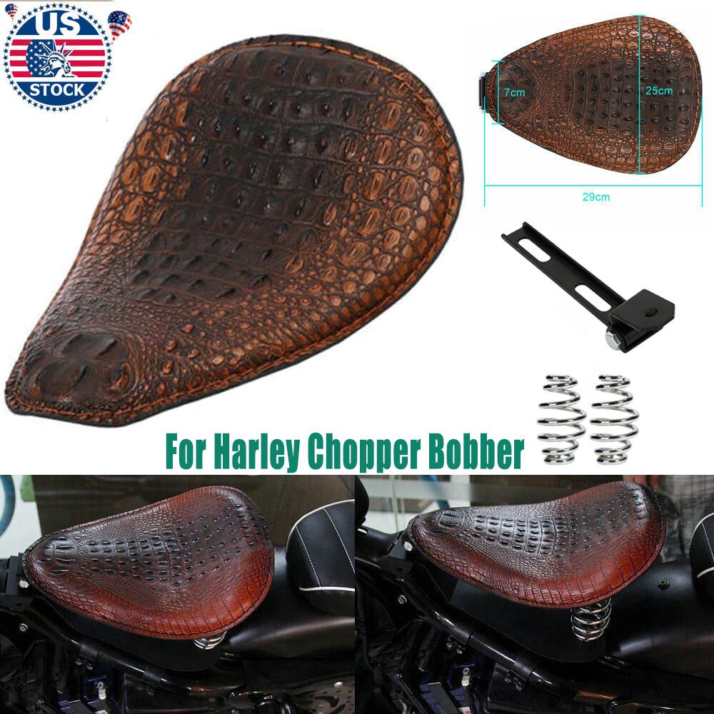 Motorcycle Blakc Alligator Solo Driver Seat PU Leather For Harley Honda Kawasaki