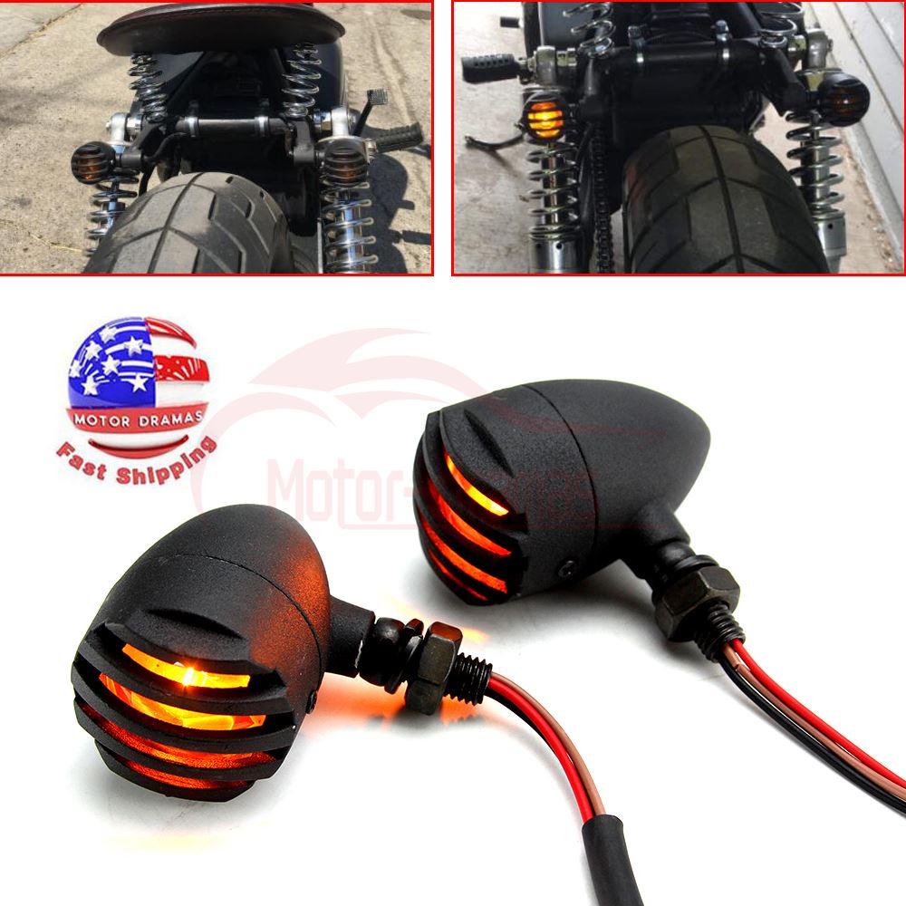2X Bullet Universal Motorcycle Turn Signals Indicator Amber Blinker Lights Lamp