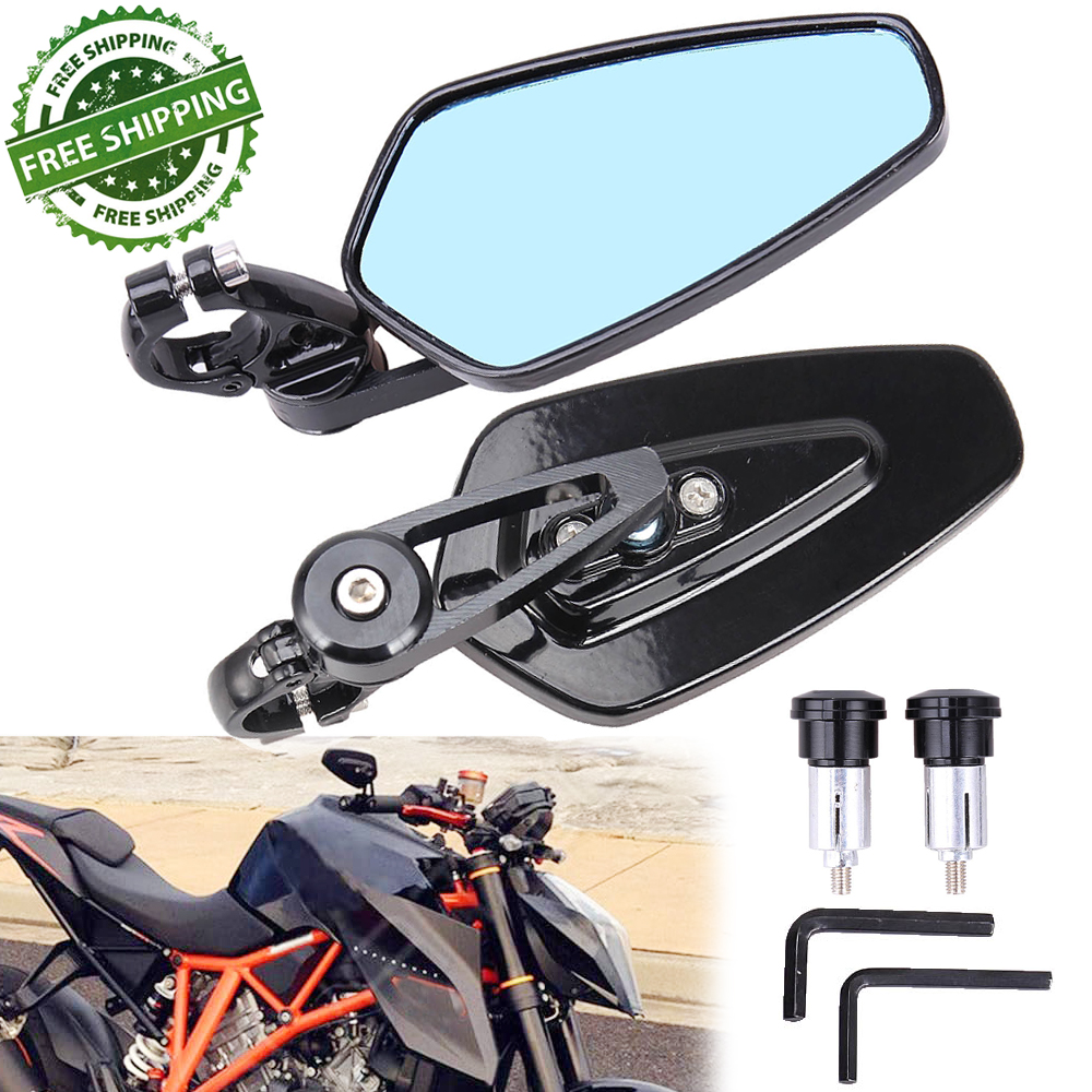 1 Pair 7//8/'/' 22mm Universal Aluminum Alloy Bar End Side Rearview Mirrors for Motorcycle Motorbike Blue Motorcycle Rearview Mirror
