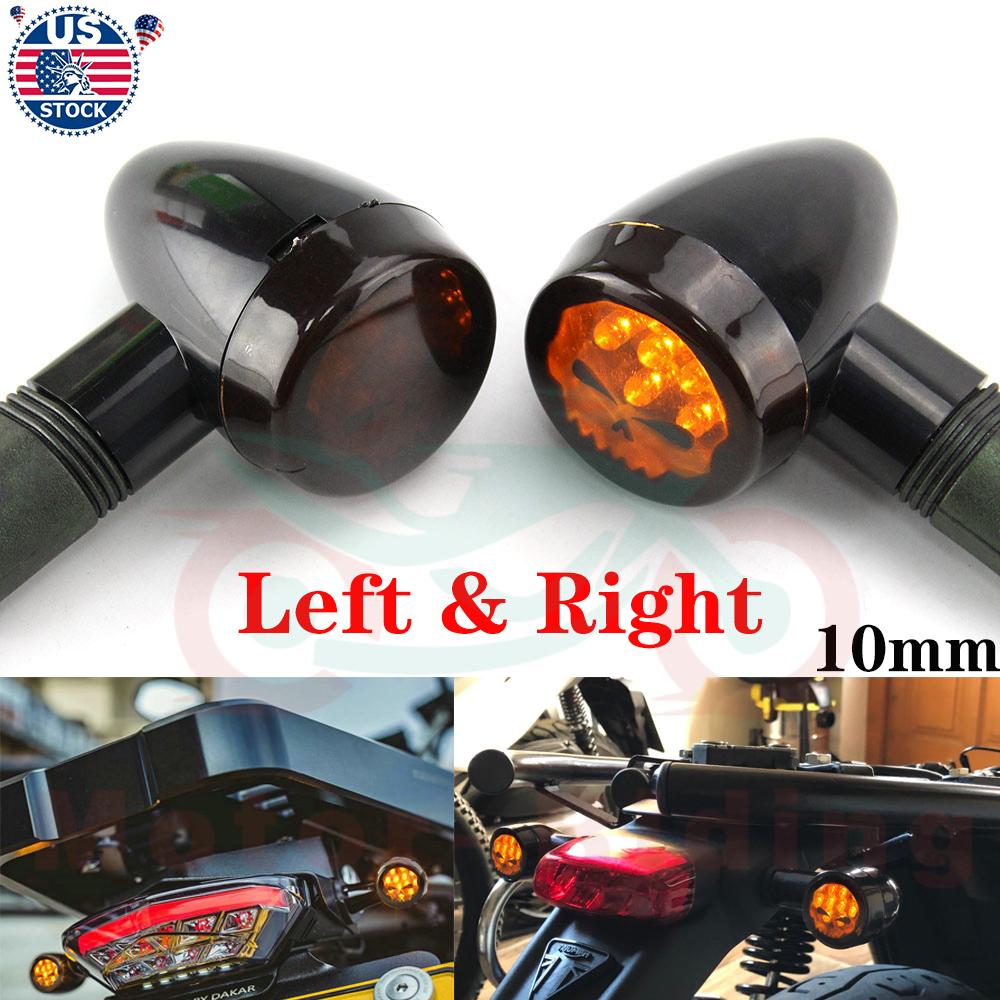 Motorcycle Skull Blinker Turn Signal Light Lamp Amber Universal For Yamaha Honda