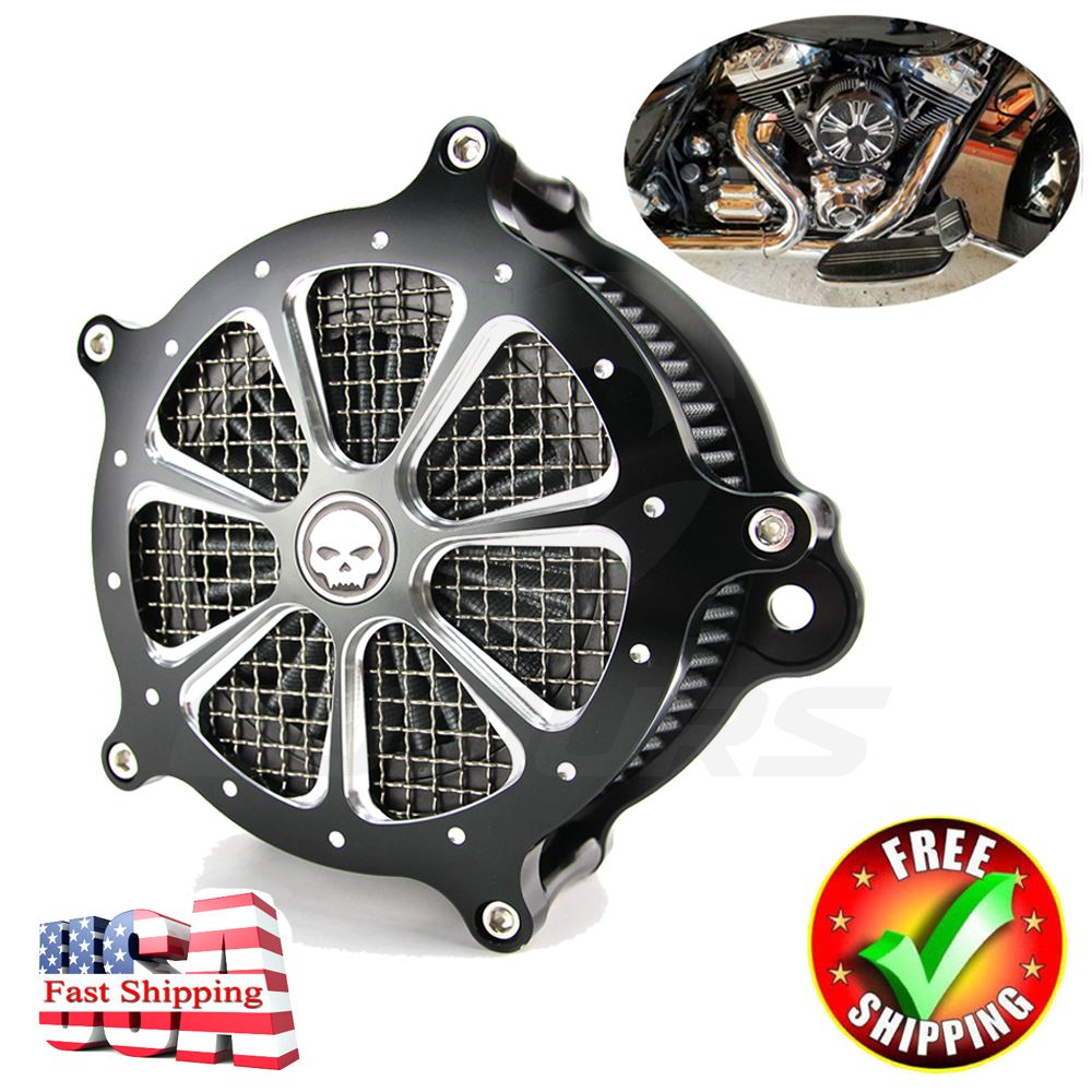 Details about Skull CNC Air Intake Cleaner Filter System For Harley on