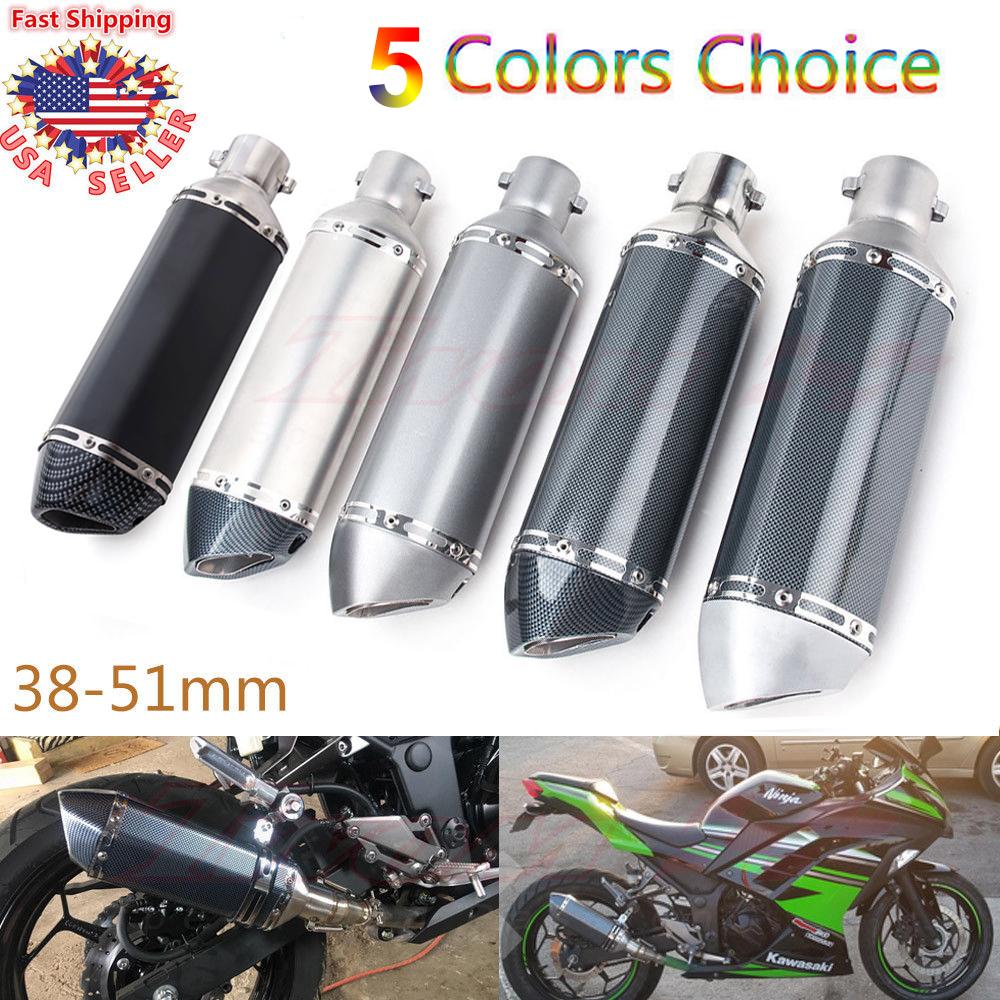 Universal Muffler Pipe Motorcycle Exhaust Silencer 38-51mm For SUZUKI YAMAHA BMW