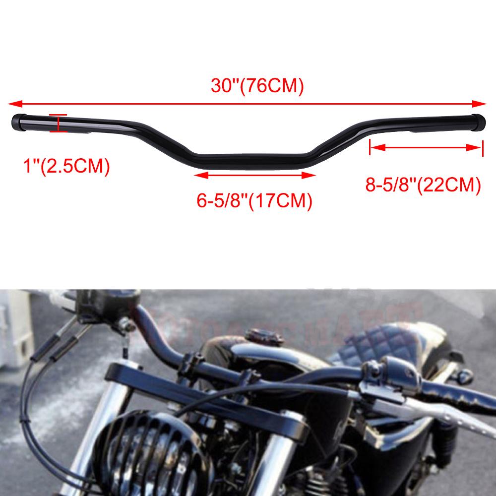 1/'/' 25mm Motorcycle Black Tracker Drag Handlebar Bars Universal For Harley Honda