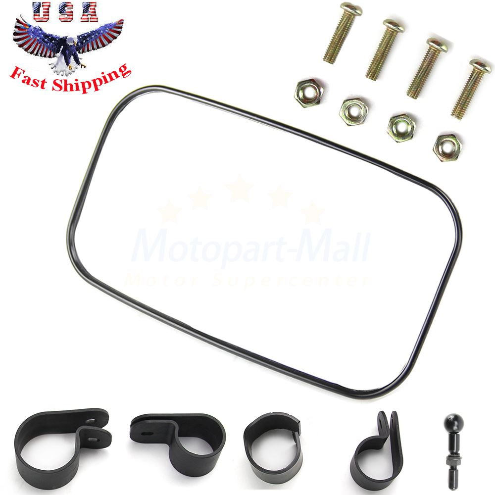 """UTV Rear View Mirror for 1.5/"""" 1.75/"""" or 2/"""" Roll Cage Bar 8/"""" x 4.5/"""" ATV"""