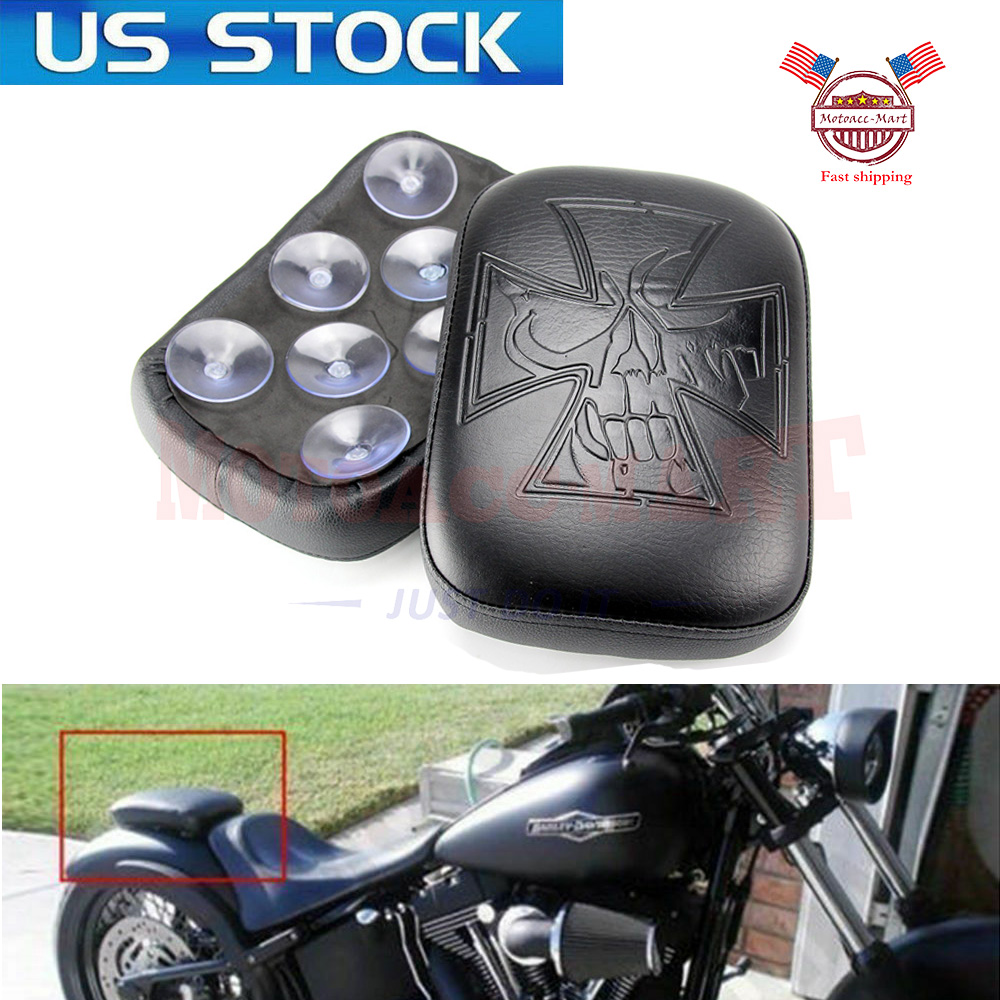 Black Rear Passenger Seat Pad Pillion 8 Suction Cups For Harley Motorcycle US