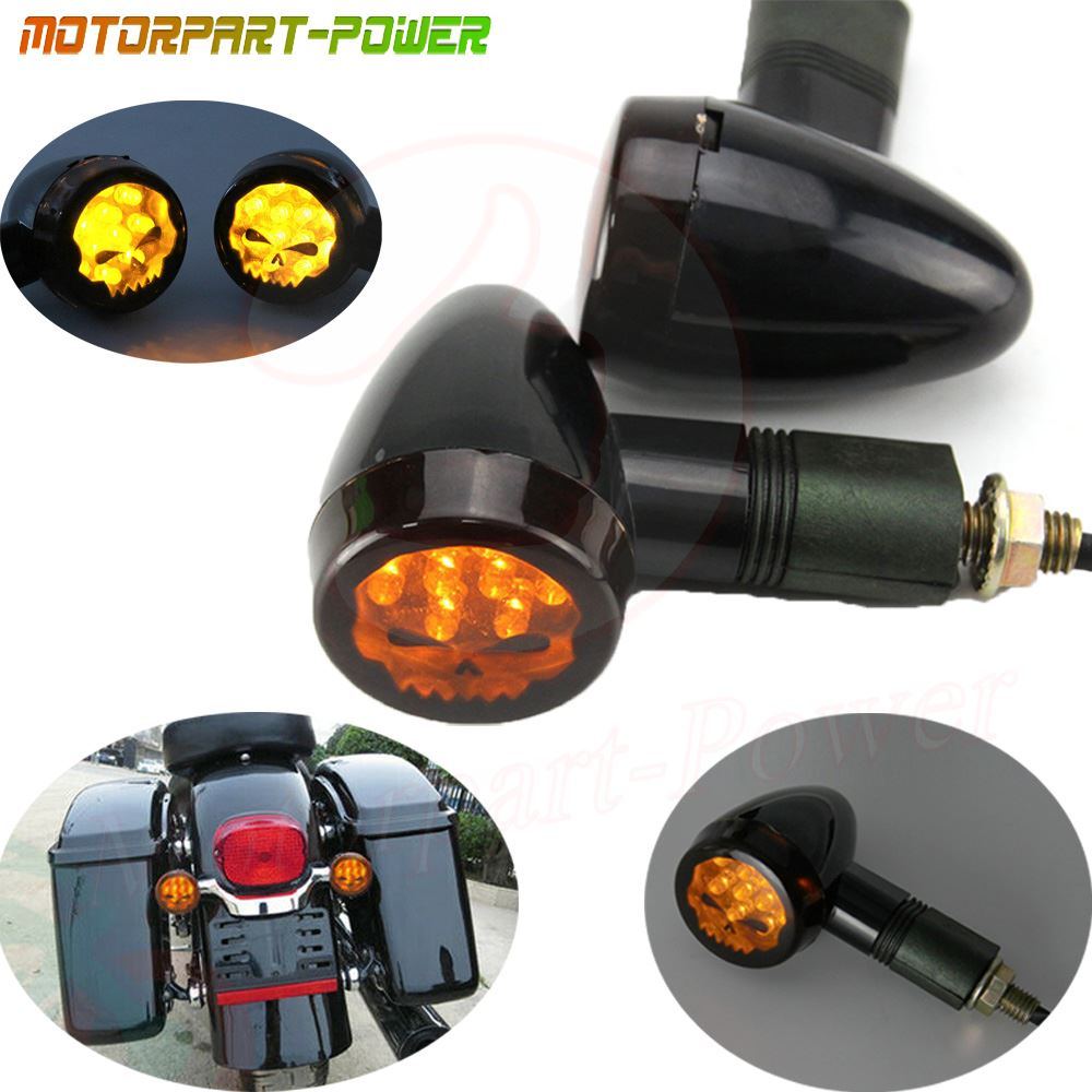 Motorcycle Black Amber Mini Bullet Turn Signal Light For Harley Cruiser Chopper