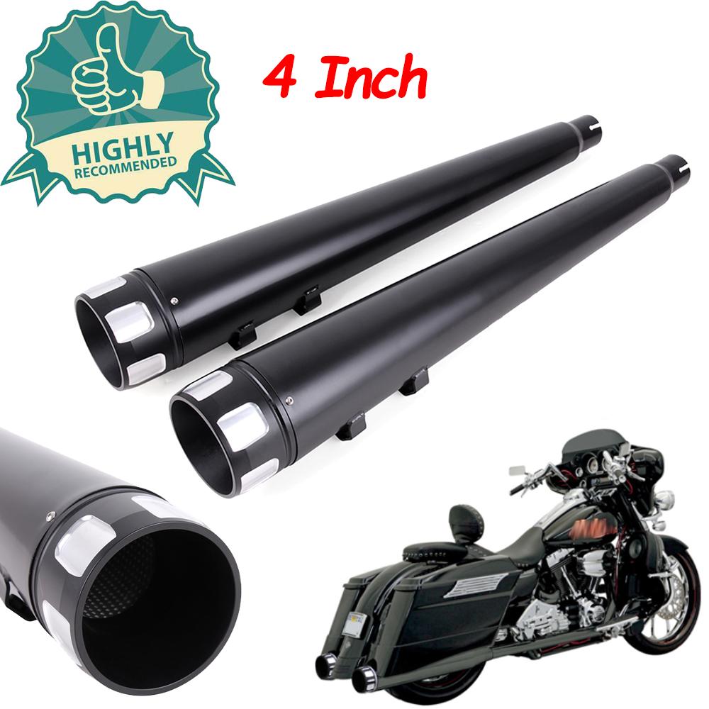"4/"" Black Megaphone Slip-On Mufflers Exhaust Pipes 95-16 Harley Touring Dresser"