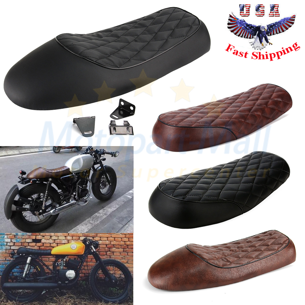 Universal Cafe Racer Seat Saddle Flat Brat Cushion Motorcycle Hump Vintage Bike