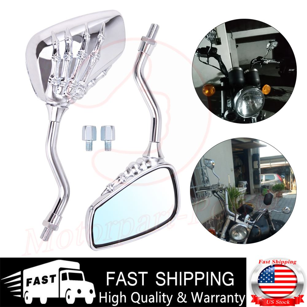 Pair Motorcycle 8mm 10mm Chrome Skull Hand Side Rearview Mirrors Chrome US Stock