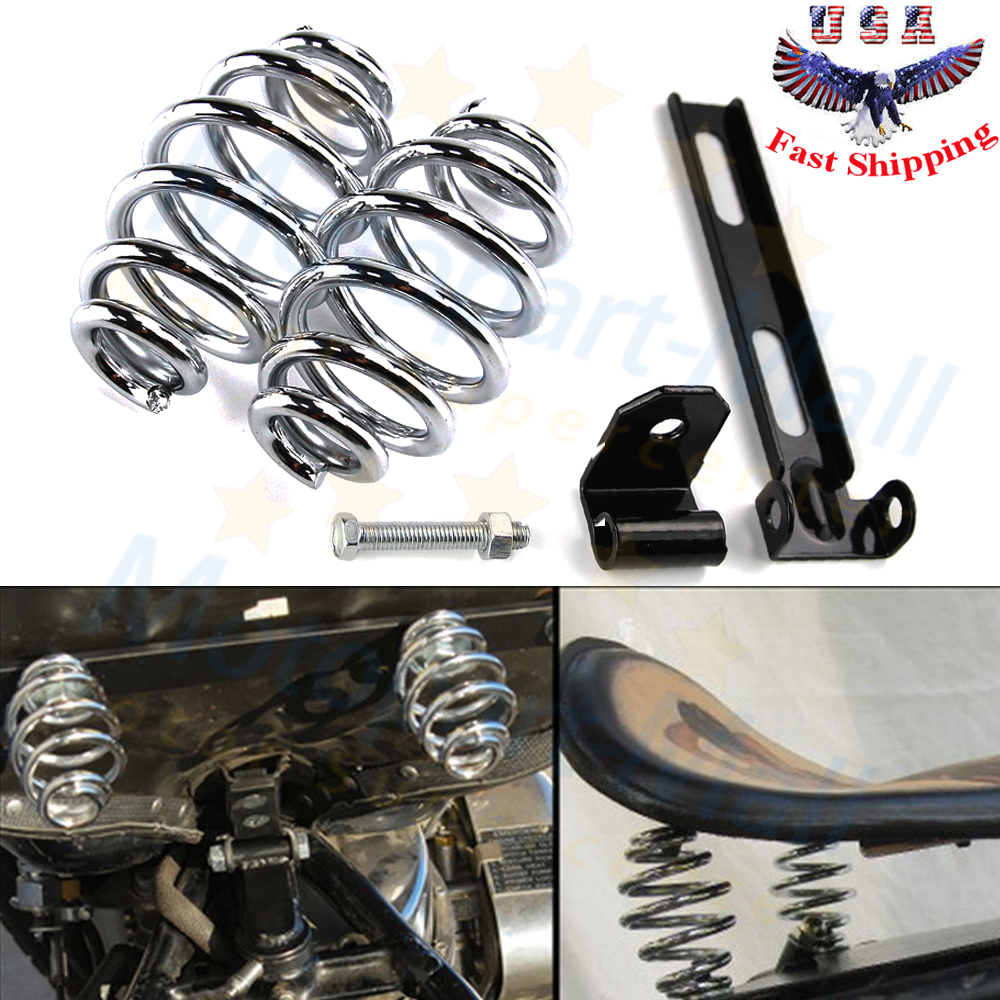 Motorcycle Solo Seat Springs Bracket Mounting Set For Harley Chopper Bobber HD