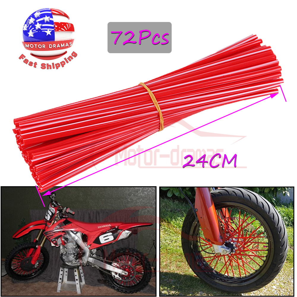 Motocross Wheel Covers 72Pcs Spoke Skins Dirt Bikes 10 Colors Color : Purple