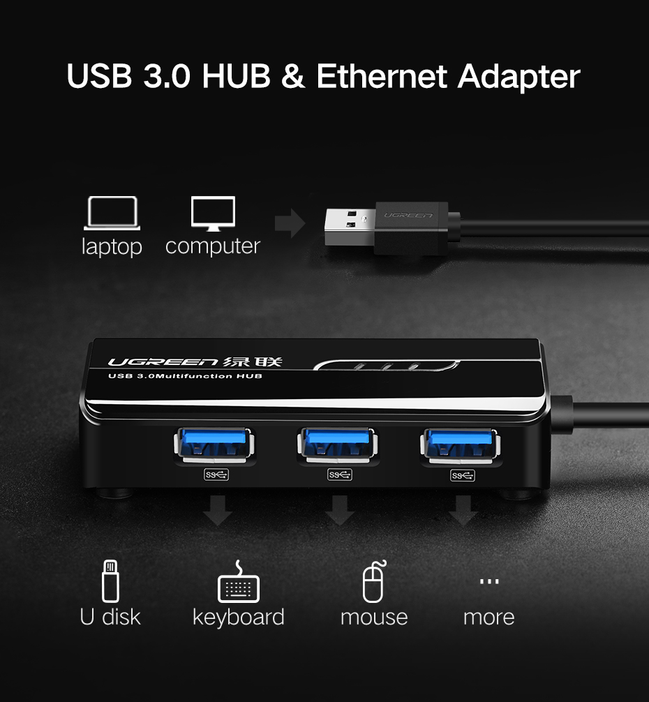 Ugreen 3 Ports Usb 3 0 Gigabit Ethernet Lan Rj45 Network