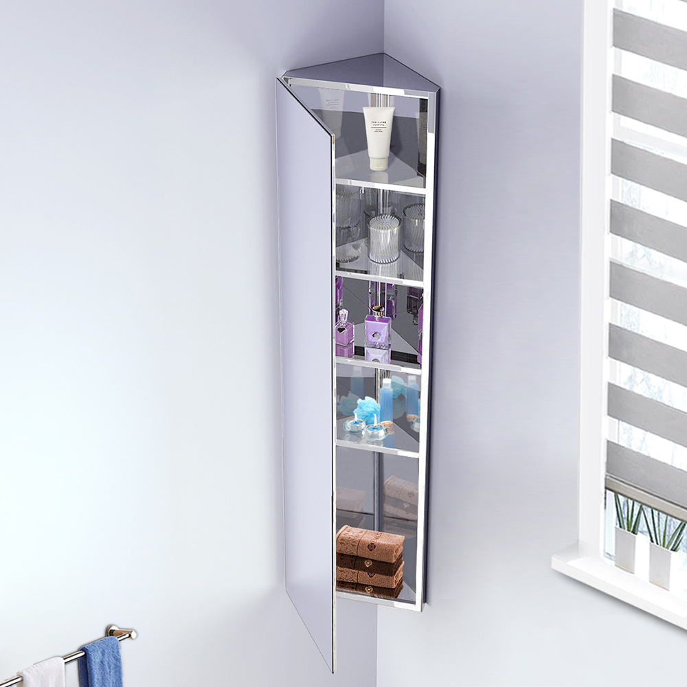 Bathroom Corner Mirror Cabinet Wall Mounted Storage Cupboard Stainless Steel Ebay