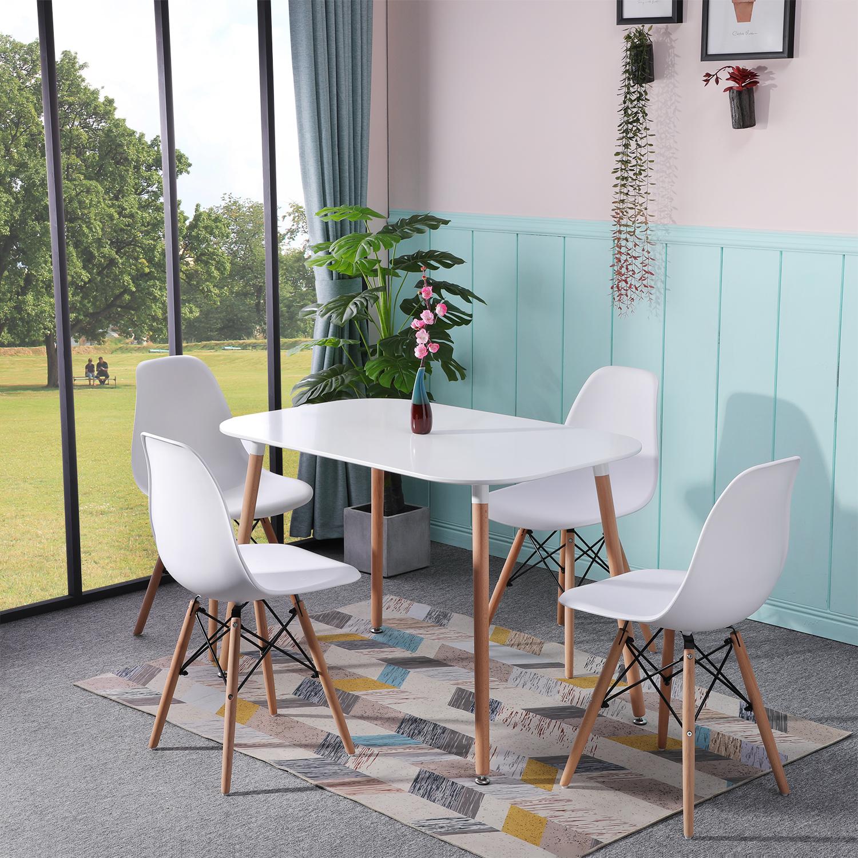 Details zu Esstisch Weiß mit 4 Stühlen Küchentisch Stühle Retro Esszimmertisch 110x70cm Neu