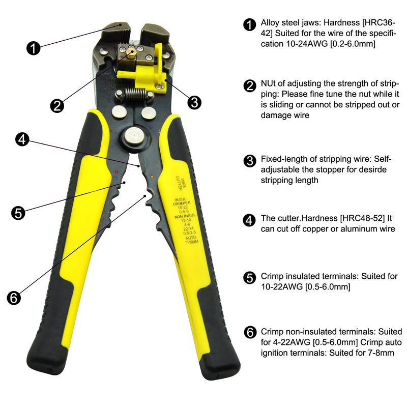 WIRE AND CABLE STRIPPER Cutter Tool Self Adjusting Stripping Ultimate 3 In 1