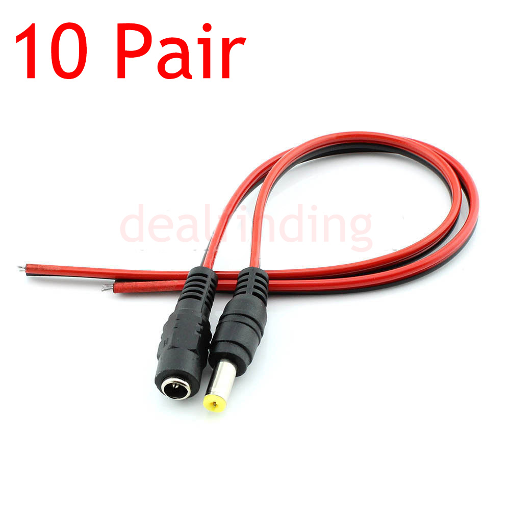 Dc Barrel Jack Wiring Data Coaxial Power 10 Pair 12v 5 5x2 1mm Male Female Connector Cable Rh Ebay Com Solder