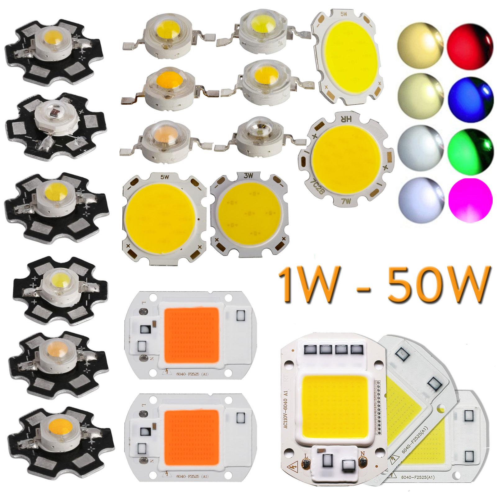 10x 50x 1W 3W 5W 7W SMD COB High Power Beads LED Chip With Star PCB White Light