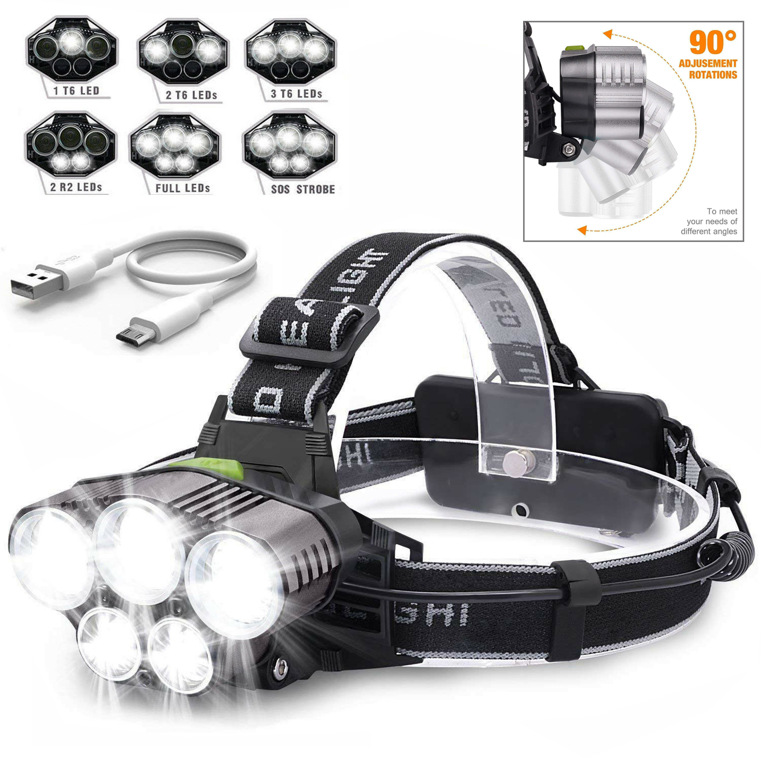 90000LM 1*T6 LED+2*XPE LED Headlamp Rechargeable Headlight Light Head Torch UK