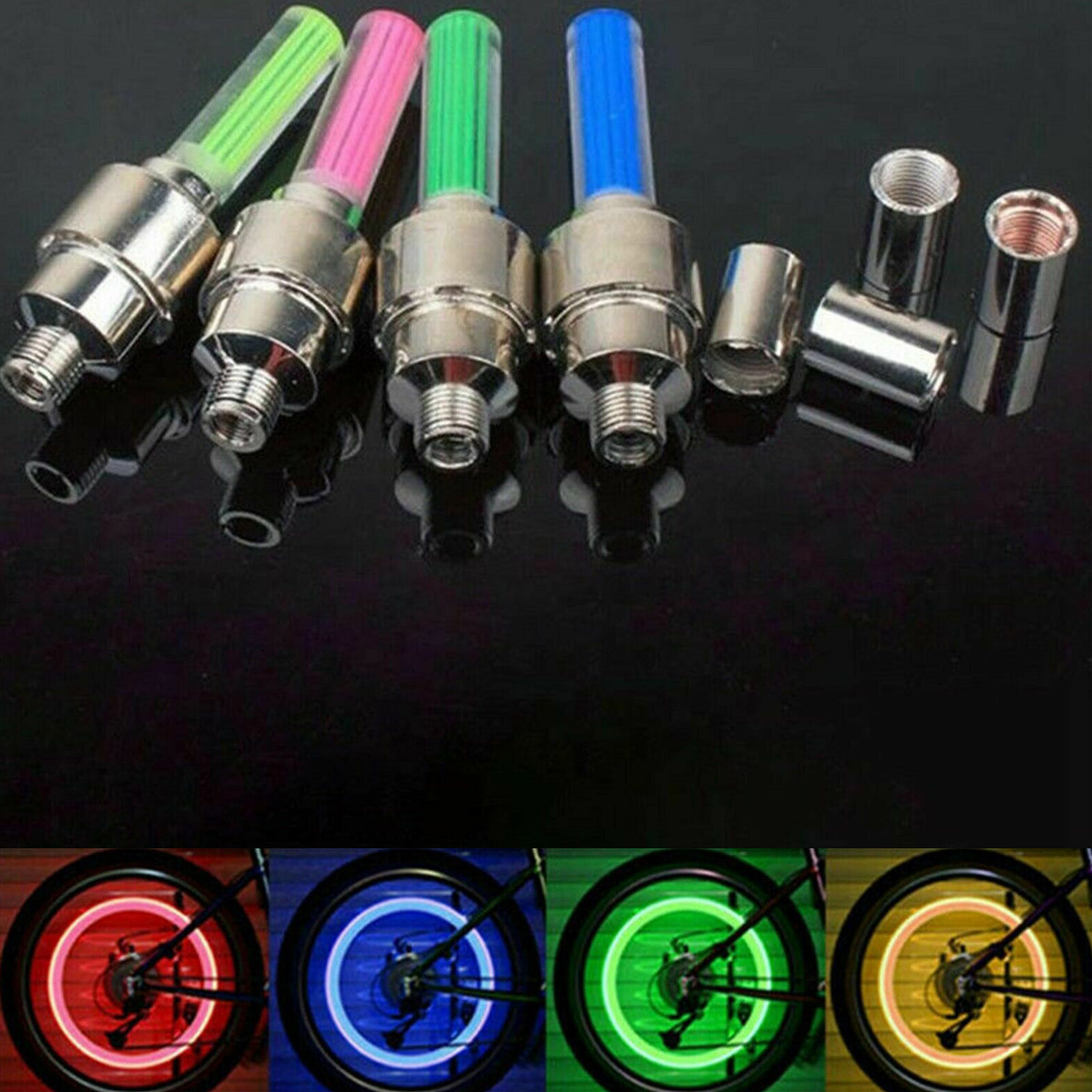 1XNeon LED Lamp Flash Tyre Wheel Valve Cap Light For Car Bike Bicycle Motorcycle