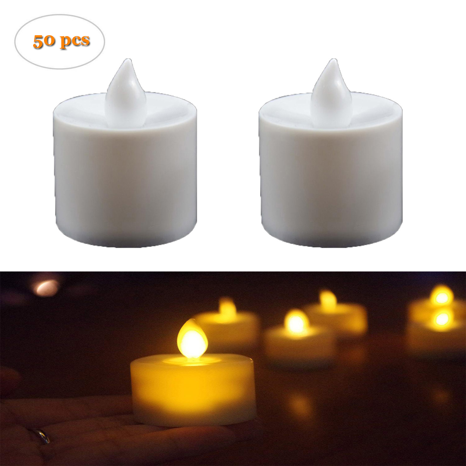 829e10fdc5 Details about 50pcs LED Electric Fake Flameless Candle Tea Light Lamp  Flickering Bright Yellow