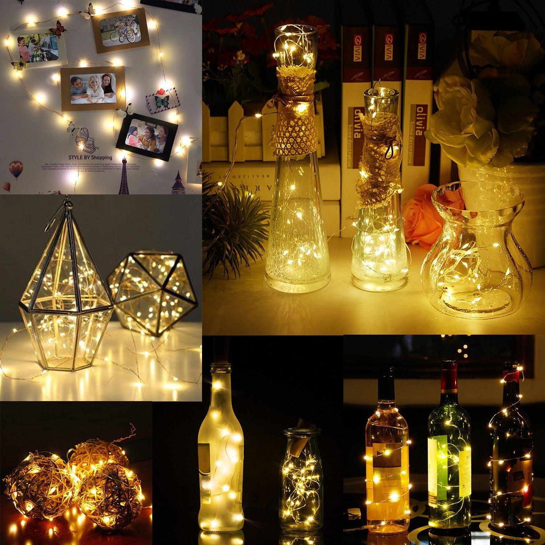 1M 10LED Draht Weinflasche Kork Batteriebetriebene Micro Fairy String Lights~
