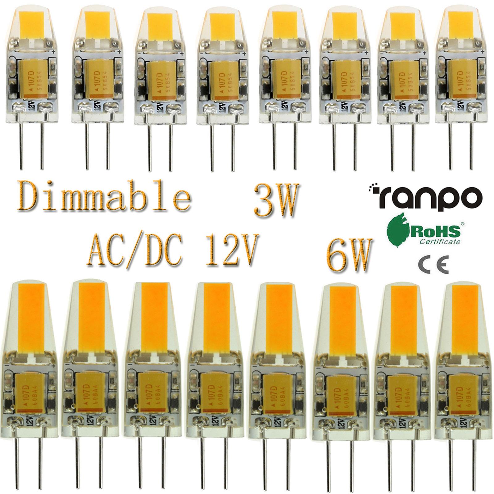 50x 100x Dimmable Led Bulbs G4 3w 6w Cob Lights Silicone Crystal Ac Circuit Lamp Dc 12v