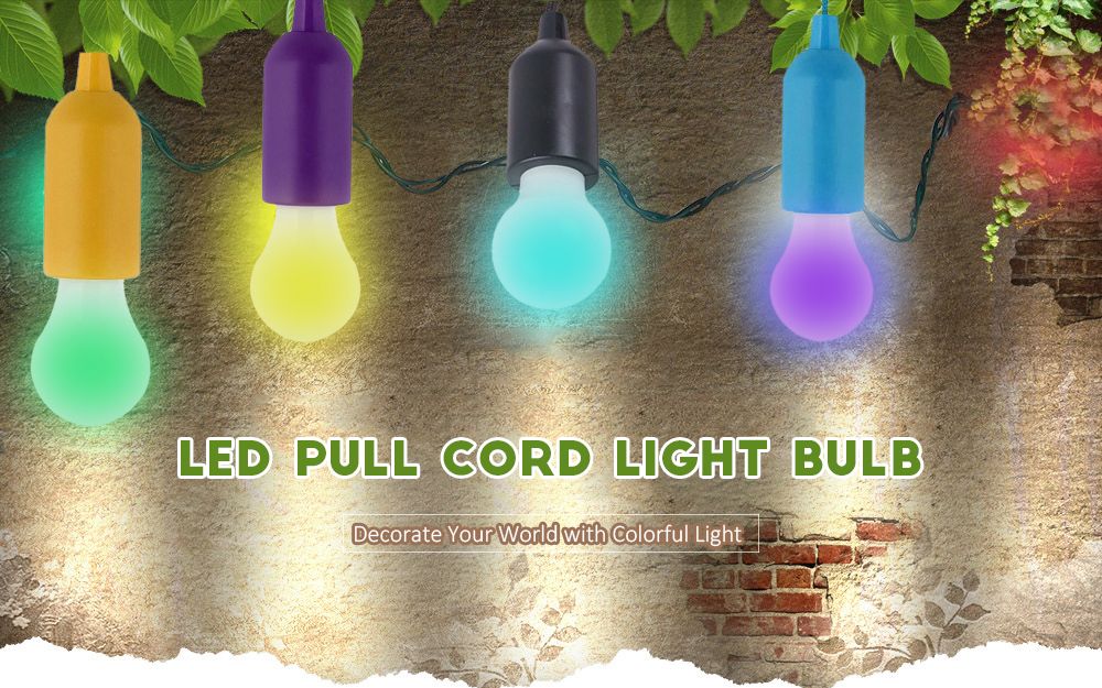 LED Colorful Light Bubble Ball Bulb Chandelier Pulling Rope to On Off Xmas RC768