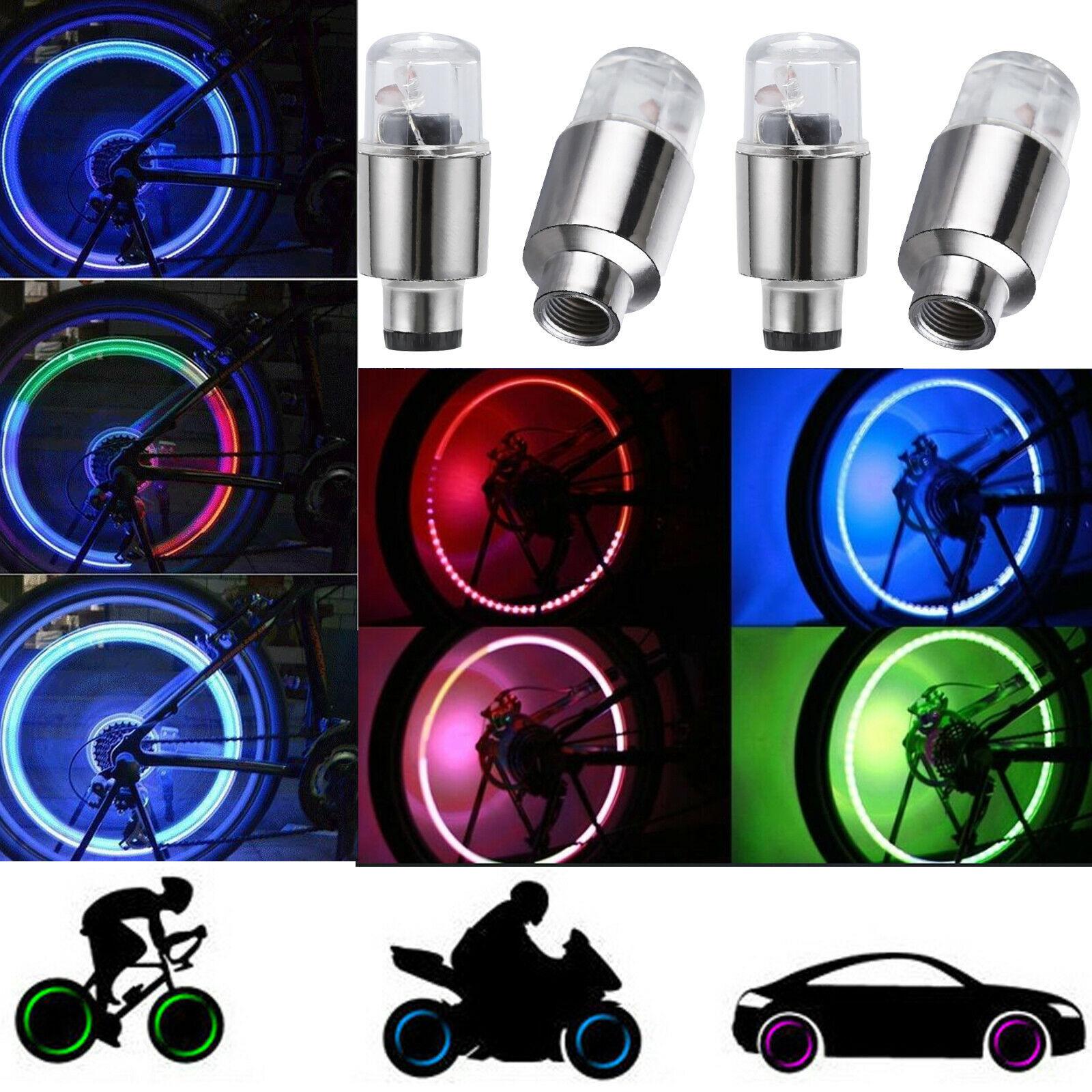 4 x Tapón Luz LED Luces colorido  para Válvula Rueda Moto Coche Bici Bicicleta