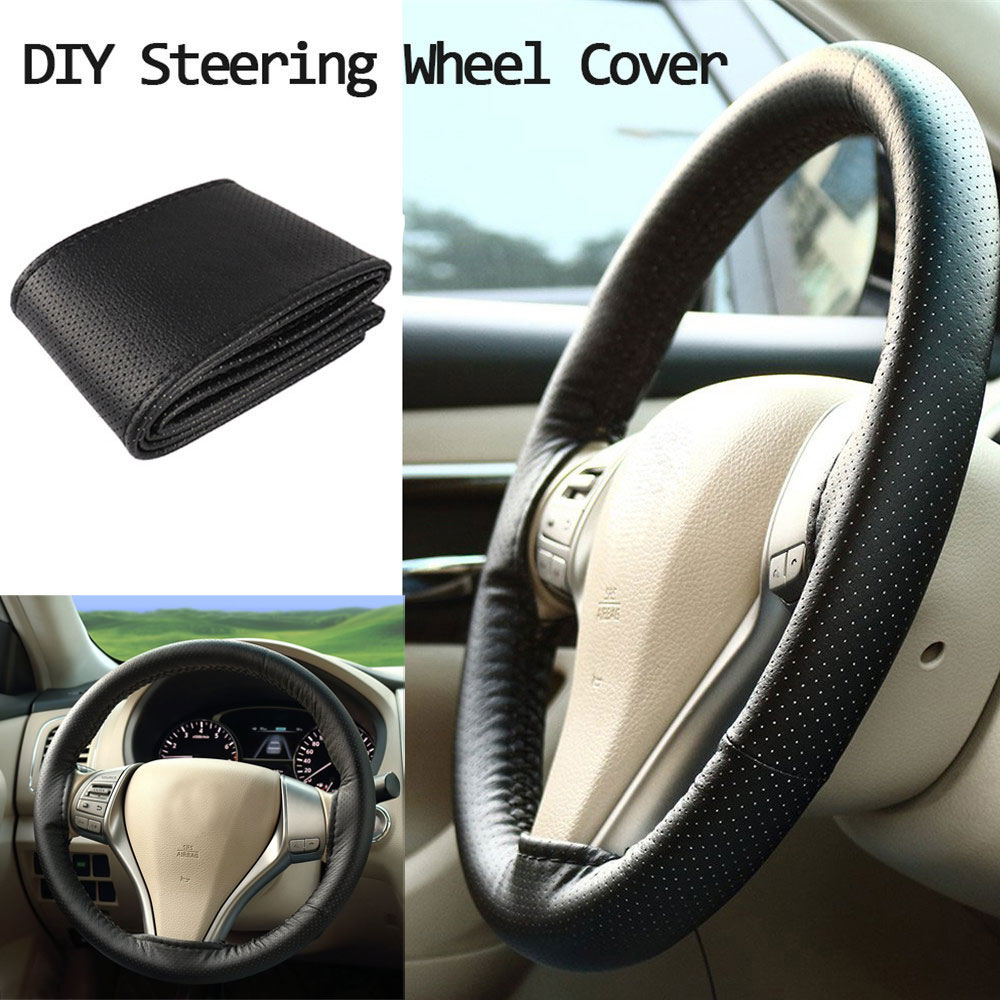 38mm Black+Red PU Leather DIY Car Steering Wheel Cover With Needles and Thread