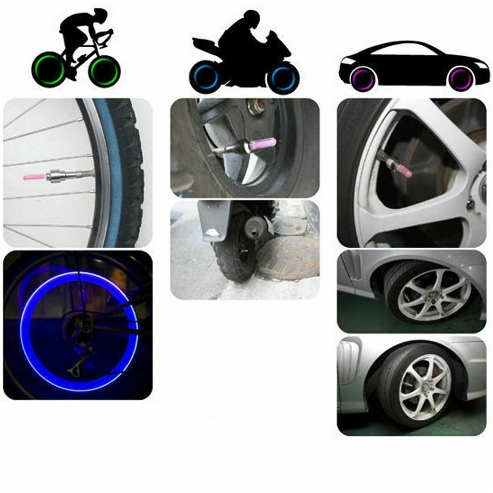 1-10X LED Valve Stem Cap Light Bike Bicycle Car Motorcycle Wheel Tire Lights SS