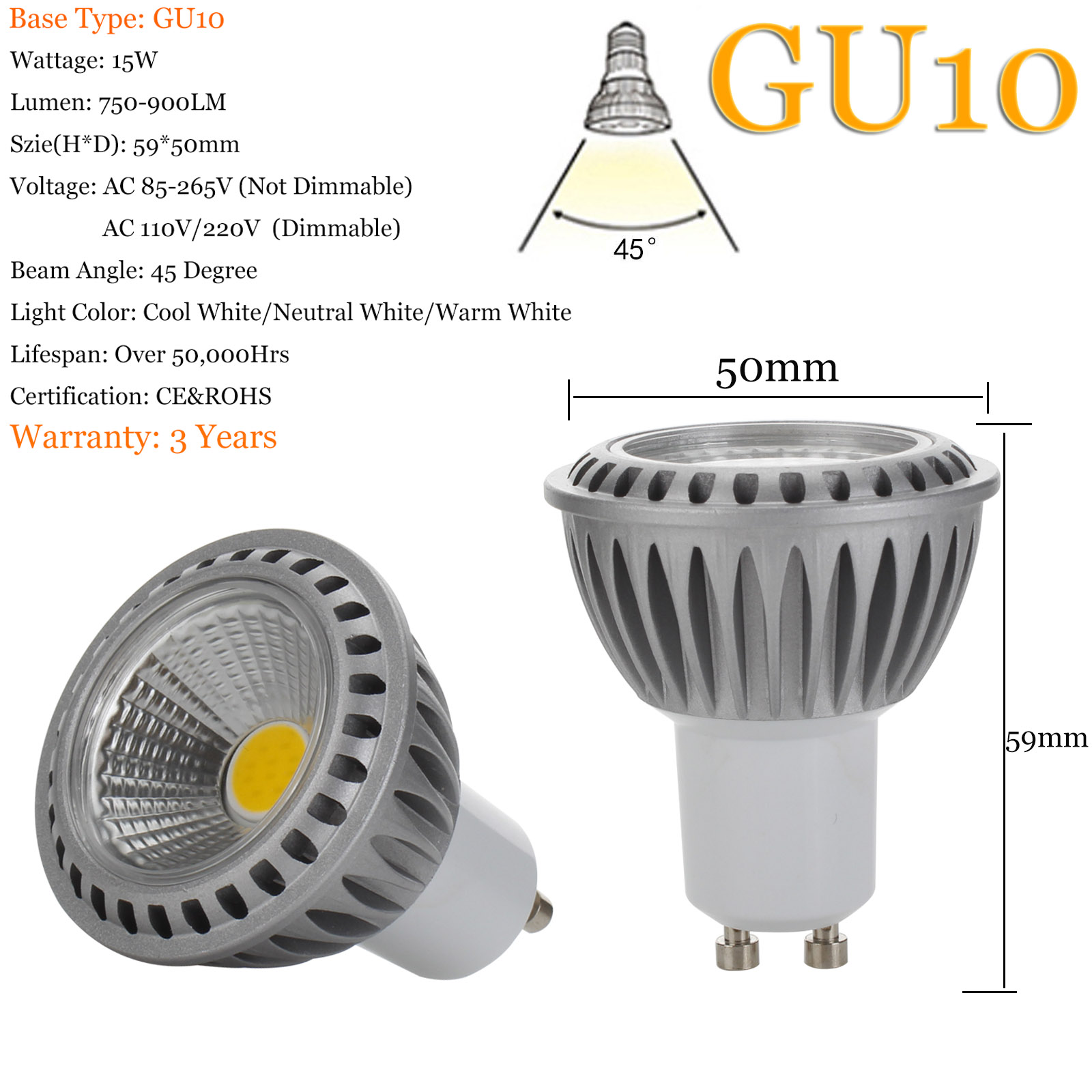 led spot light bulbs dimmable gu10 mr16 e26 e27 15w cob 110v 220v 12v white lamp ebay. Black Bedroom Furniture Sets. Home Design Ideas