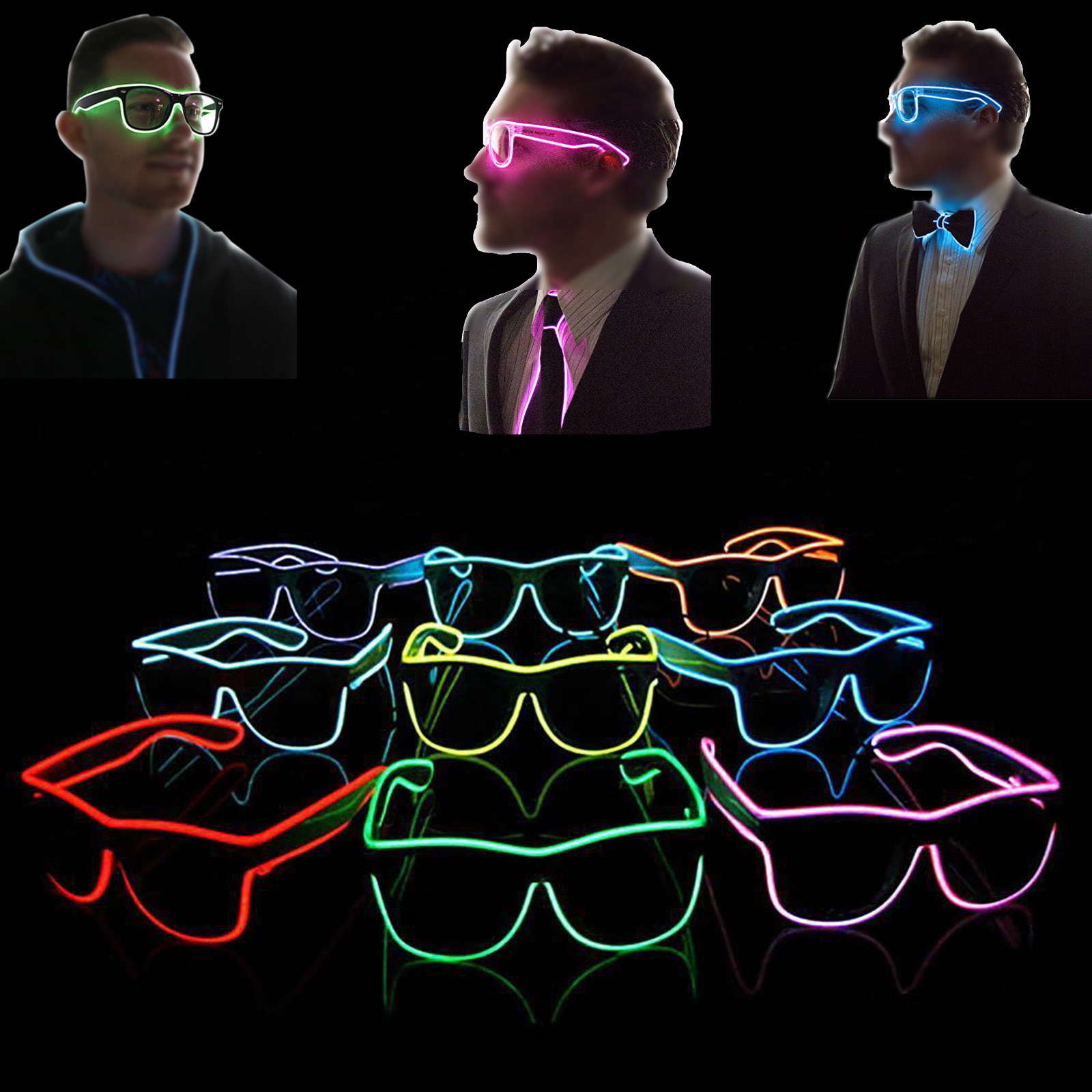 LED EL Wire Light Up Glasses Eyewear Shades for Nightclub Party ...