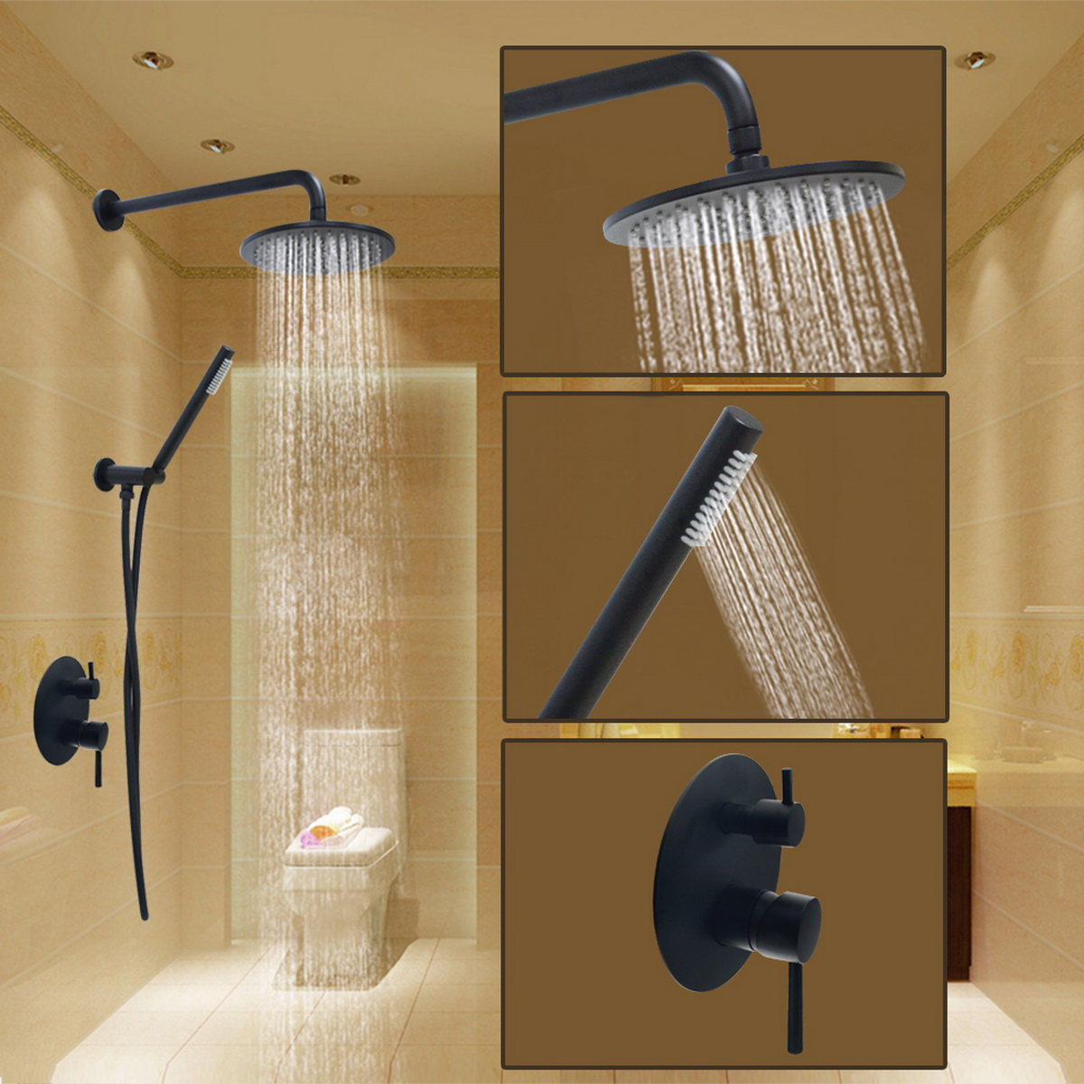 Oil-rubbed Bronze Shower System Set Bathroom Wall Mount Waterfall ...