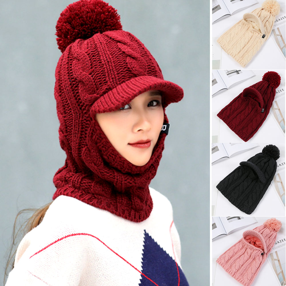 Details about Women Lady Cable Knitted Bobble Hat w Scarf Earflap Warm  Winter POM Wooly Cap 489d6085898