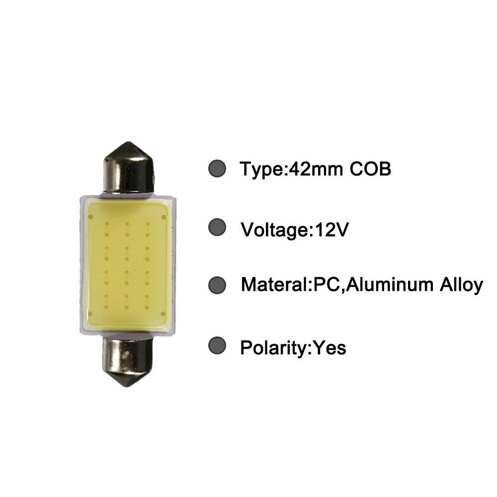 2X NEW WHITE COB LED 42mm FESTOON 578 579 211-2 Dome Map Interior Light Lamp #J8