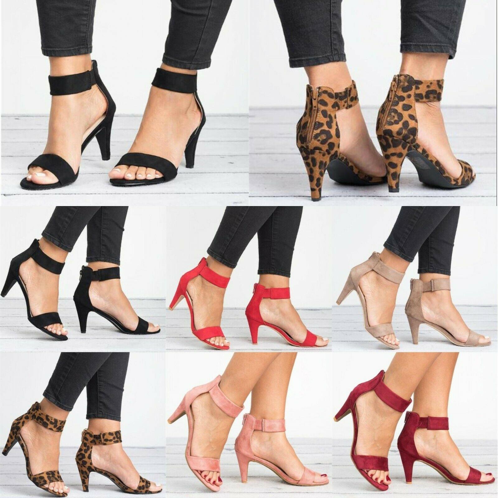 Women's Mid Low Block Heel Sandals