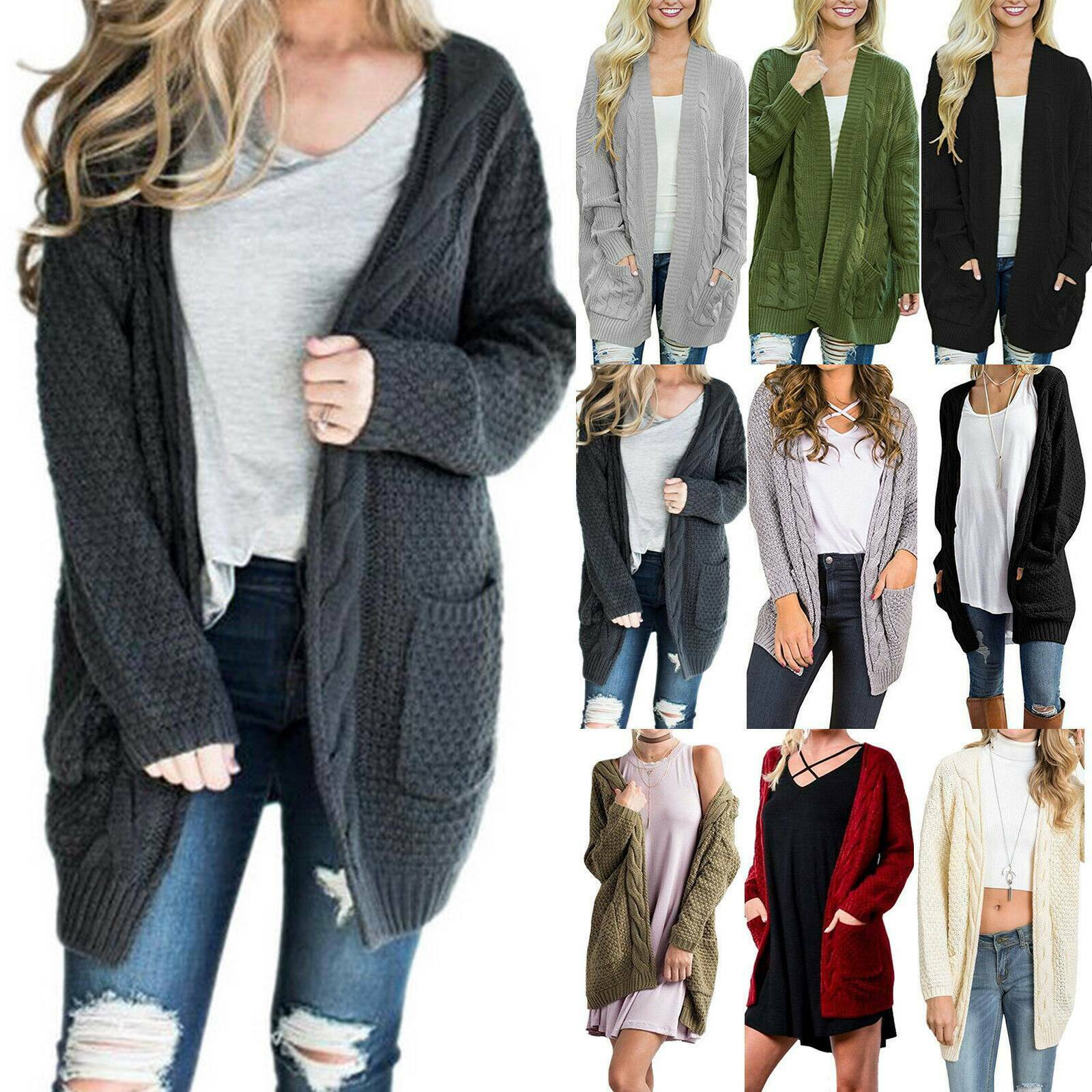 LADIES CARDIGAN WOMEN'S CHUNKY CABLE