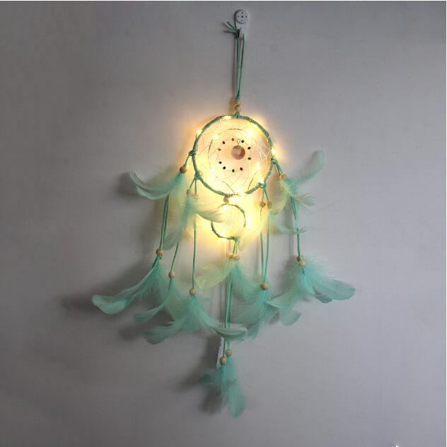 Green Feather Pearl Dream Catcher Wall