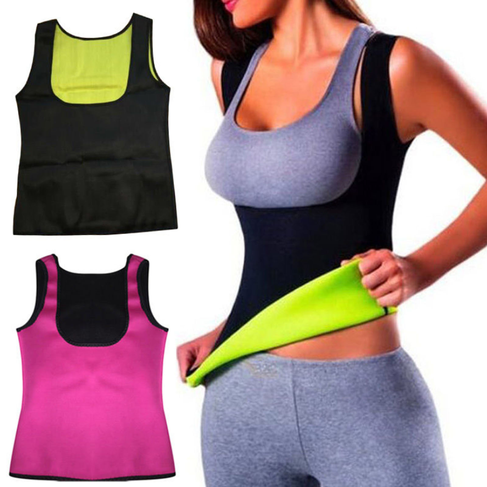 127b76d053e Details about Hot Sweat Sauna Body Shaper Women Slimming Vest Thermo  Spandex Waist Trainer US