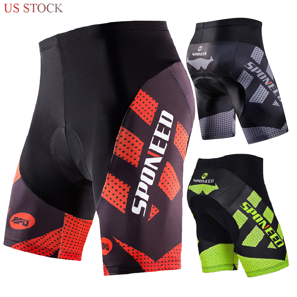 SPONEED Men Bike Shorts Gel Pad Cycling Trousers Mountain Road Cylce Tights