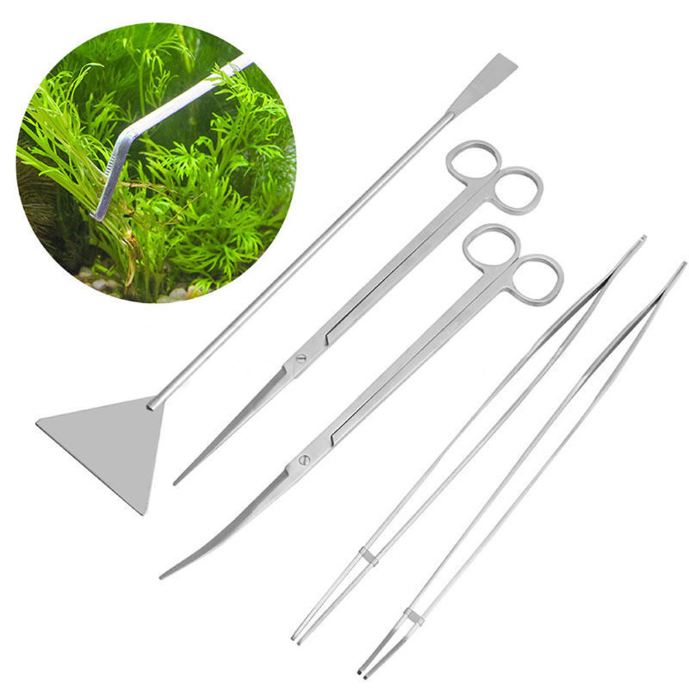 1 Set Aquarium Cleaning Kit Tweezers Curve Scissor Fish Tank Stainless Steel Attractive Designs; Pet Supplies