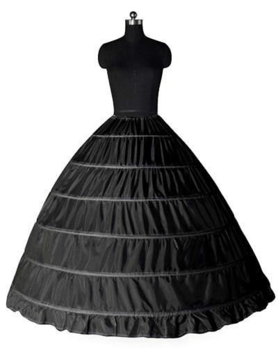 Black 6 HOOP Quinceanera Ball Gown Crinoline Dress Petticoat Skirt Underneath