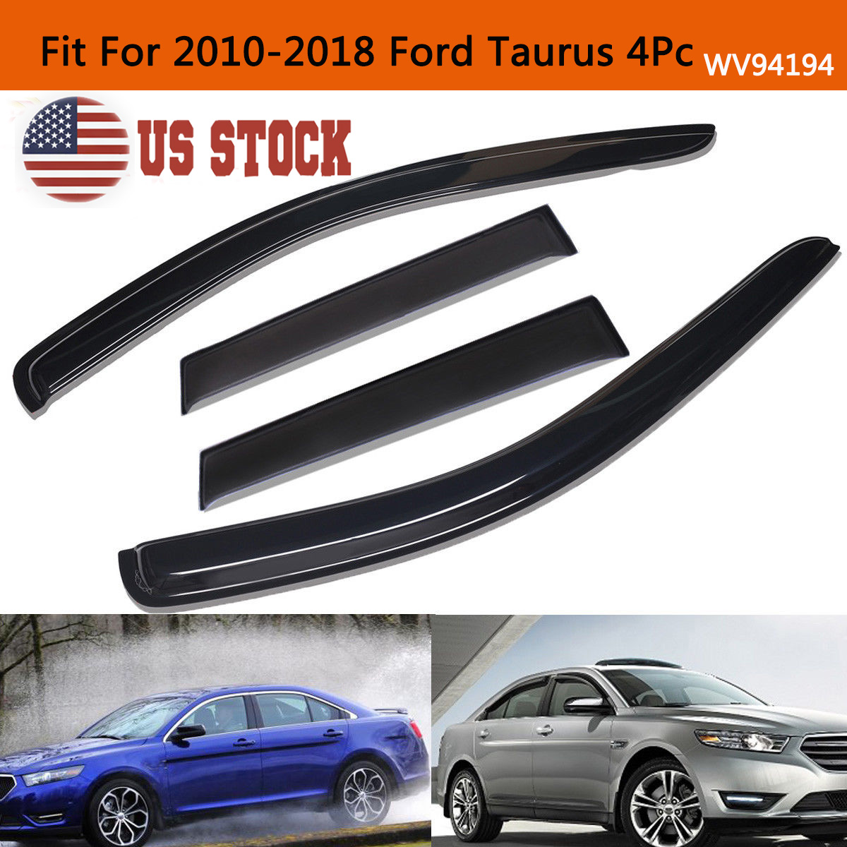 Details about Smoke Window Visor Sun Rain Guards Vent Shade Fit For  2010-2018 Ford Taurus 4Pc 499e64410e8cc