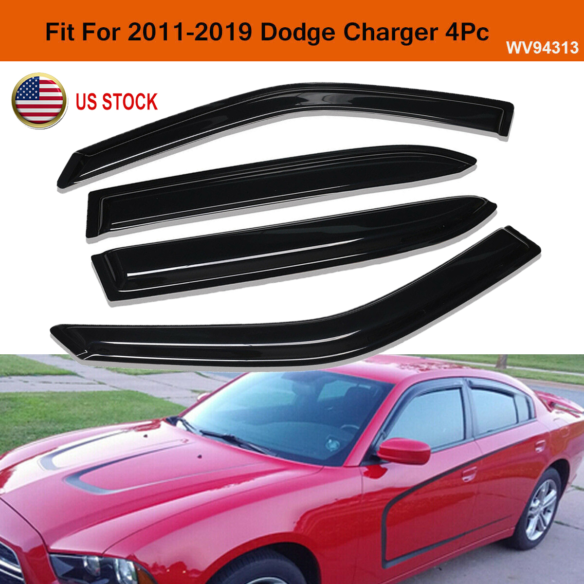 fit for 2011-2018 Dodge Durango Window Vent Sun Shade Rain Guard Visor Deflector