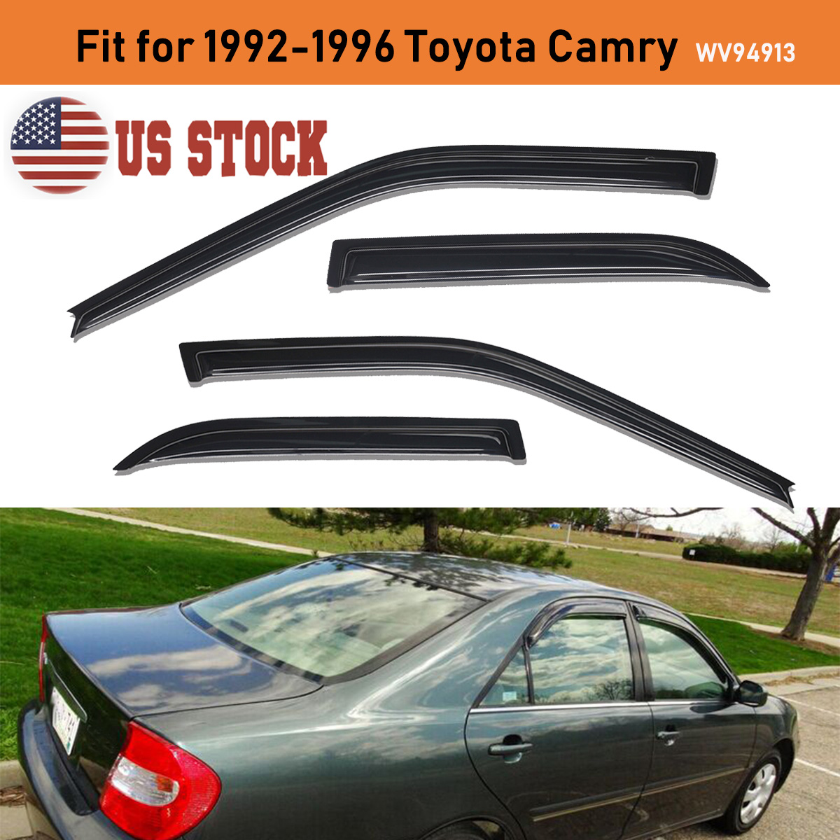 Lightronic Vent Shades Side Window Deflector for 2002-2006 Toyota Camry 4Pcs Set