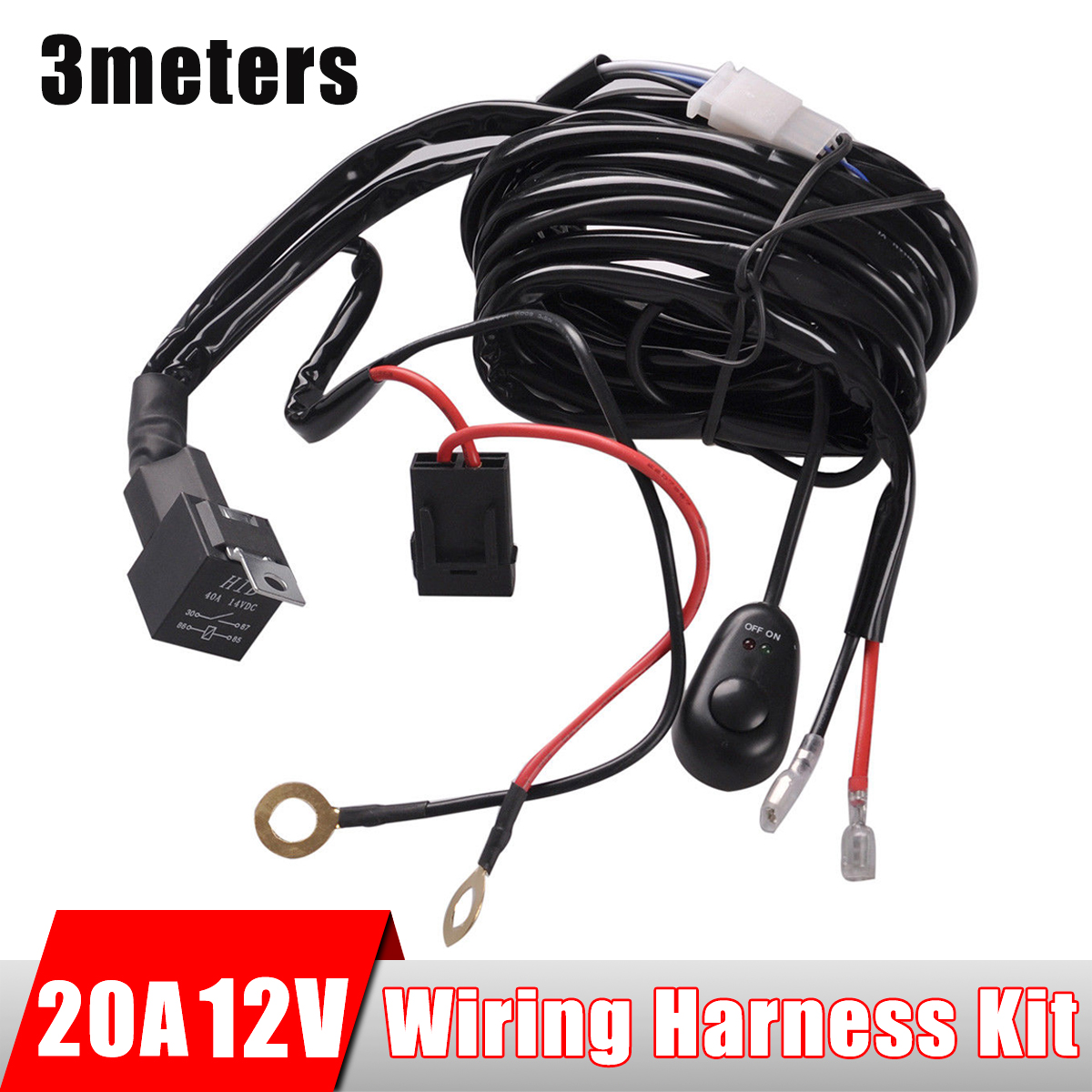 20a 12v Wiring Kit Includes Switch Relay For Led Spotlights Work Harness Fog Light Bar